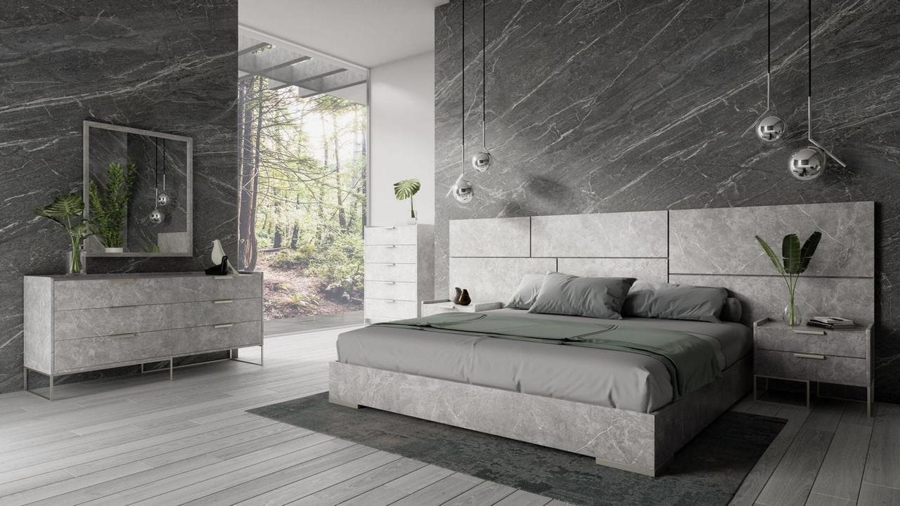 Nova Domus Marbella Italian Modern Grey King Size Bed Set Lounge La
