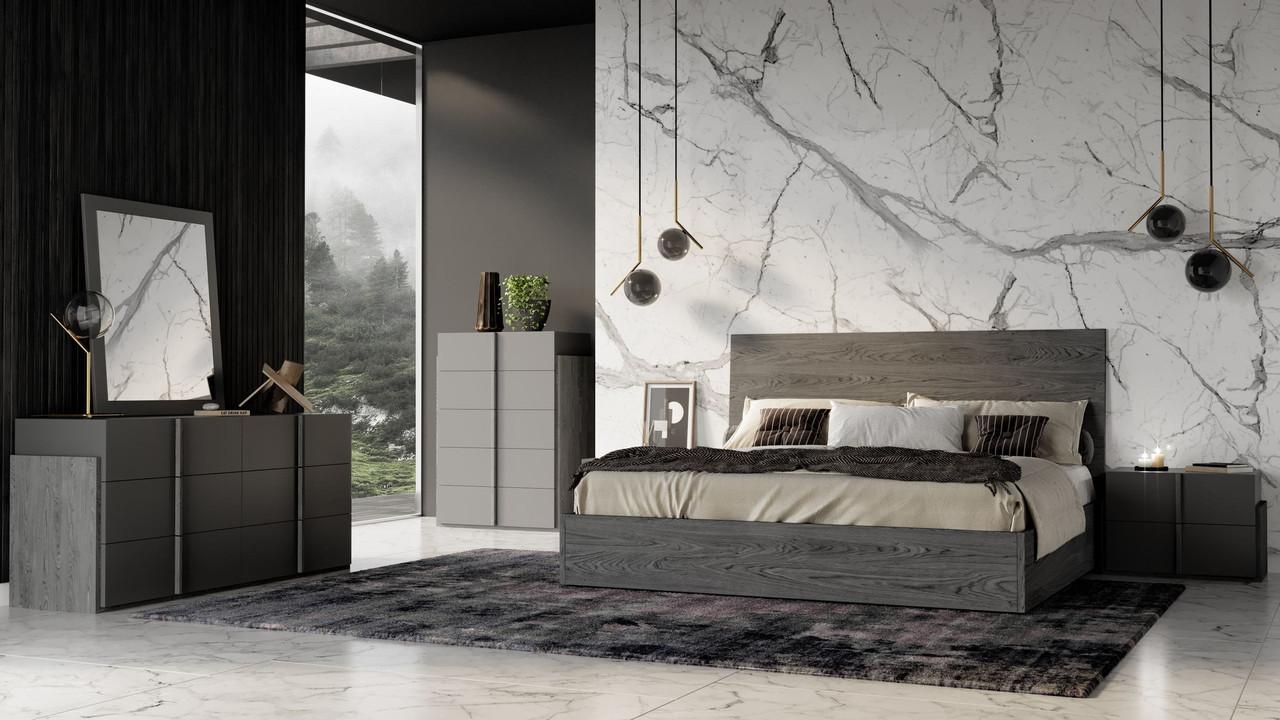 Nova Domus Lucia Italian Modern Matte Grey Elm Grey King Size Bedroom Set Lounge La