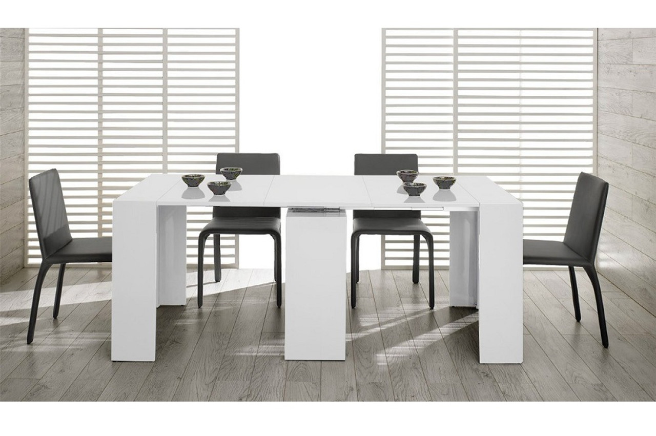 Modrest Morph - Modern Ultra-Compact Extendable White Dining Table