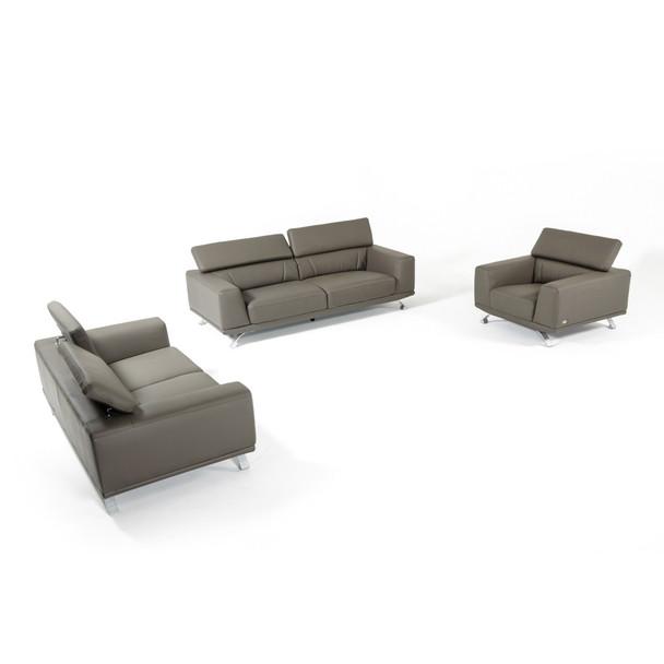 Fantastic Divani Casa Brustle Modern Dark Grey Eco Leather Sofa Set Beatyapartments Chair Design Images Beatyapartmentscom