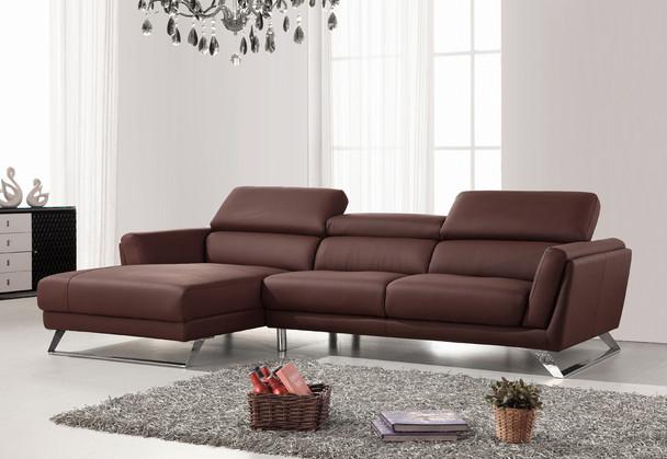 Swell Divani Casa Doss Modern Brown Eco Leather Sectional Sofa Beatyapartments Chair Design Images Beatyapartmentscom