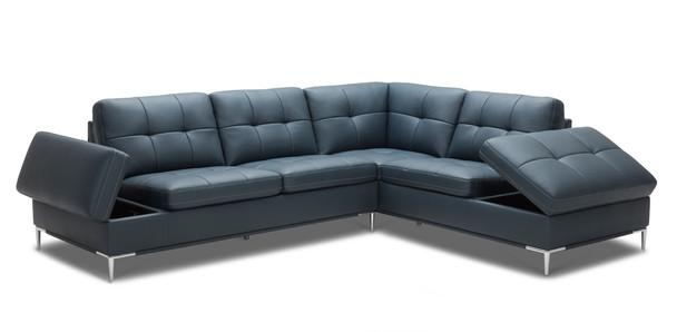 Cool Divani Casa Lariat Modern Blue Eco Leather Sectional Sofa Beatyapartments Chair Design Images Beatyapartmentscom