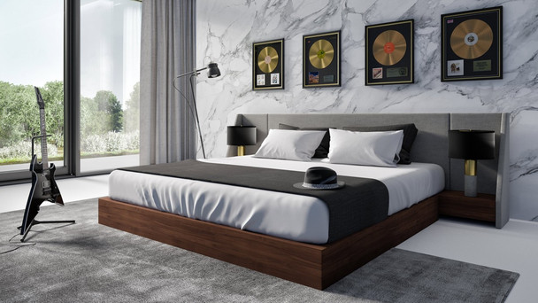 Modrest Janice - Modern Grey Fabric and Walnut King Size Bed and Nightstands
