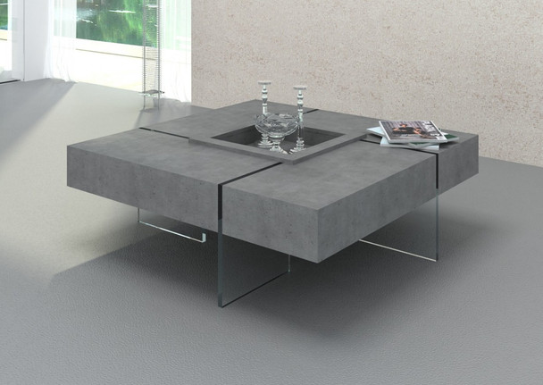 Modrest Shauna - Modern Faux Concrete Floating Coffee Table