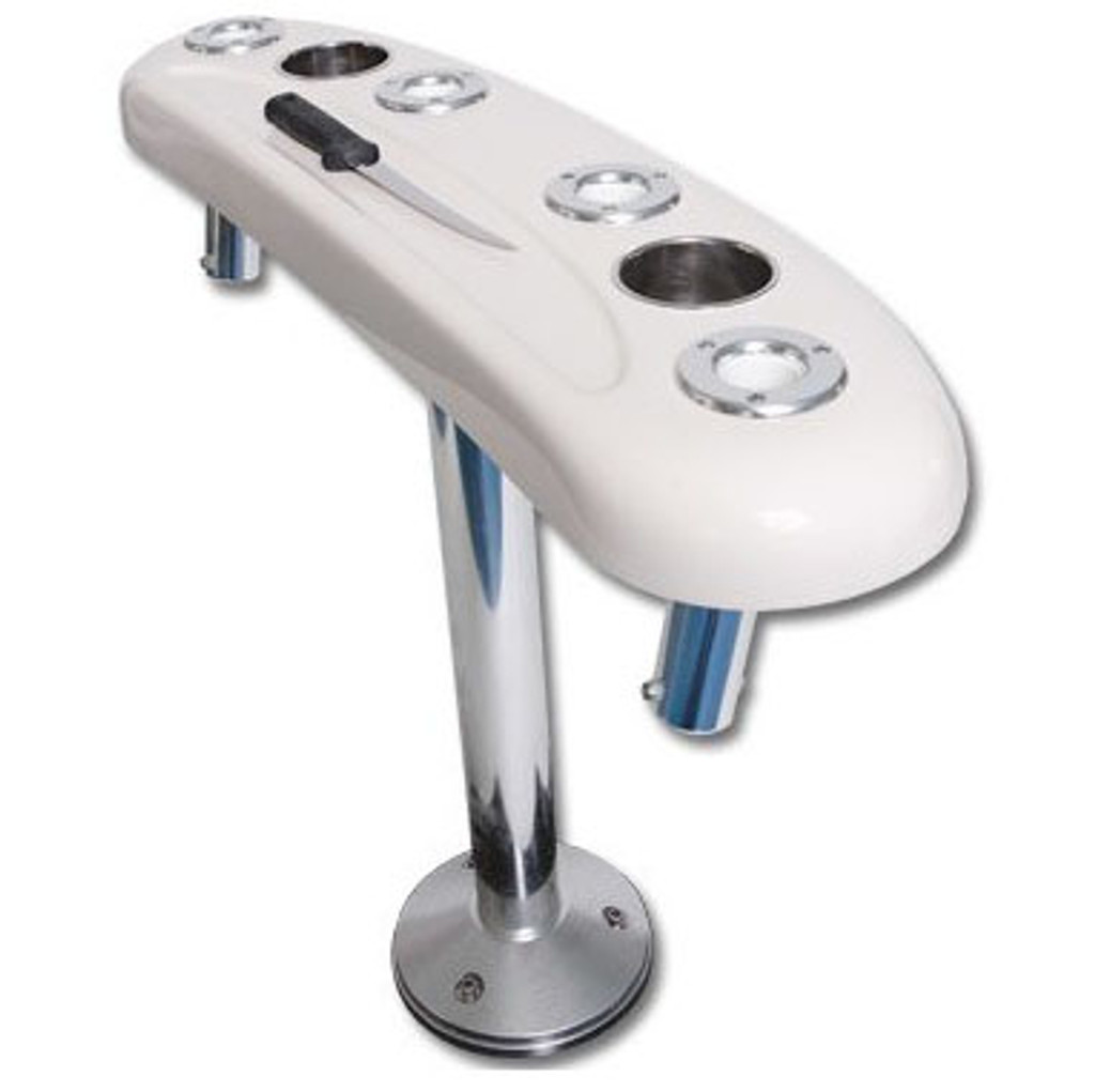 """36"""" Recessed Tray, pedestal rocket launcher leaning post. Pedestal is 29"""" tall. A optional Stainless Steel Base plate is available at a extra charge of $ 179.95."""