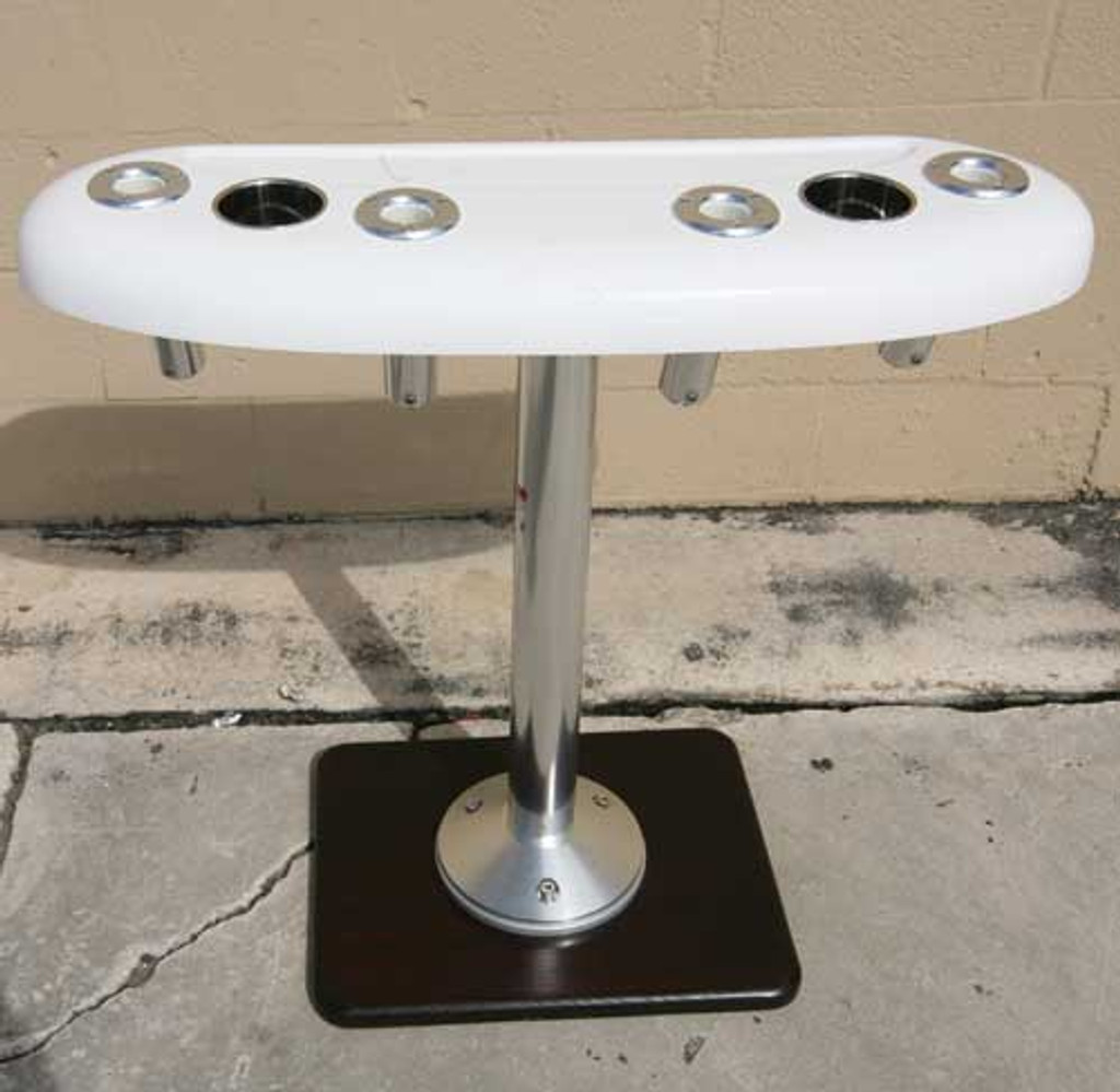 """36"""" Recessed Tray, front view. Featuring (4) Birdsall Aluminum rod holders. This unit shows the optional Stainless Steel Drink holders which are a extra charge of $22.95 a piece."""