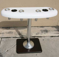 """36"""" Recessed Tray, front view. Featuring (4) Birdsall Aluminum rod holders. This unit shows the optional Stainless Steel Drink holders which are a extra charge of $26.95 a piece."""