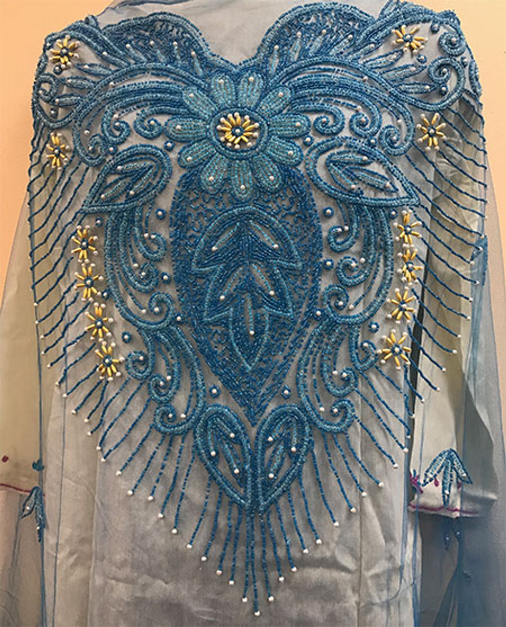 Fashion Nigerian Aso Oke Headtie Gele Royal Blue Embroidery Stone/&Beads 2PCS//Lot