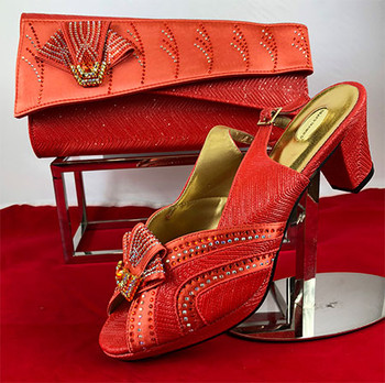 Grand Diamond Shoes & Bag 76 (Coral) Sz:37
