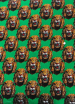 Feni Fabric # 6 Lion Head Green ($11 per yard)