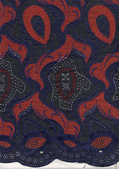 Voile Lace 199 (Navy Blue/Burgundy)