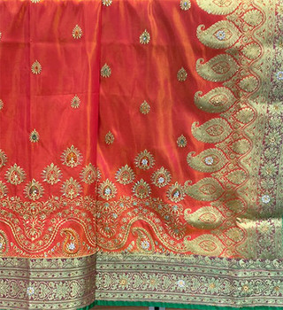 Saree George 123 (Orange/Green)