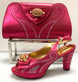 Grand Diamond Shoes & Bag # 8 (Fuchsia Pink)