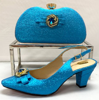 Grand Diamond Shoes & Bag # 17 (Turquoise Blue)