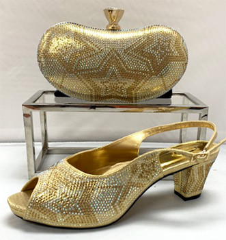 Grand Diamond Shoes & Bag # 26 (Gold) Sz:42