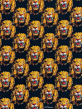 Feni Fabric # 2 Lion Head- Black ($11 per yard)