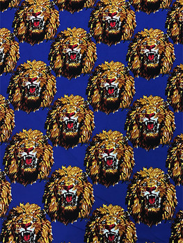 Feni Fabric # 3 Lion Head- Royal Blue ($11 per yard)