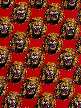 Feni Fabric # 4 Lion Head- Red ($11 per yard)