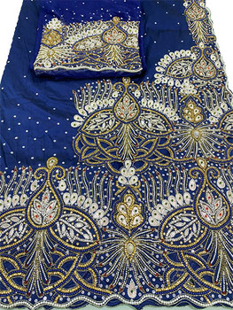 First Lady Wrapper 35 (Navy Blue) with Blouse Piece