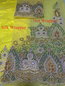 First Lady Net + Silk Wrapper 44 (Yellow) with Blouse Piece