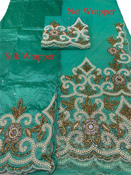 First Lady Net + Silk Wrapper 41 (Mint Green) with Blouse Piece
