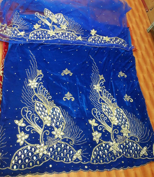 Velvet Wrapper with blouse piece# 207 (Royal Blue/Gold)