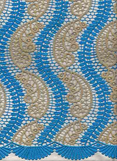New Cord Lace 320 (Turquoise Blue/Gold)
