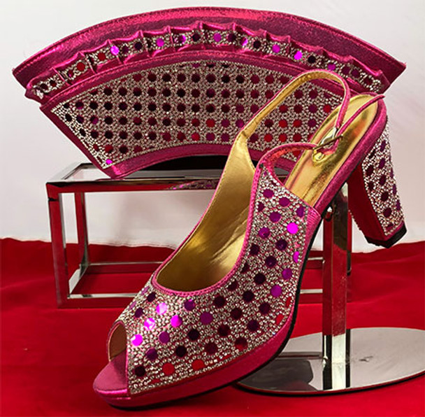 Grand Diamond Shoes & Bag 72 (Fuchsia)