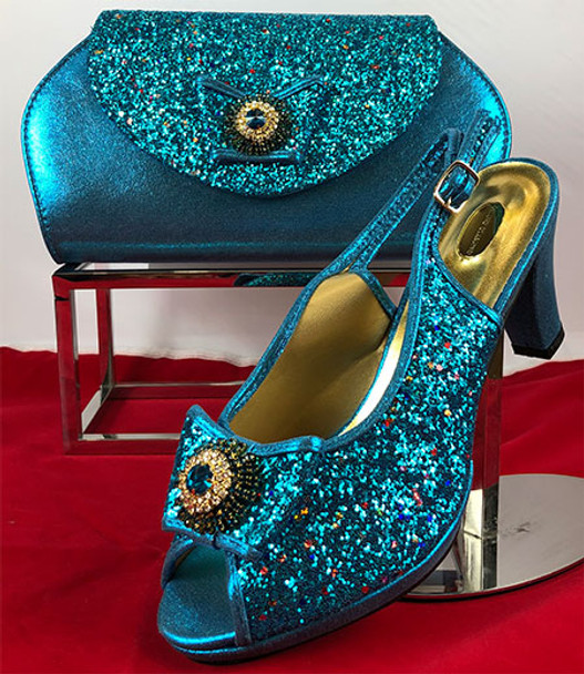 Grand Diamond Shoes & Bag 93 (Turquoise Blue)