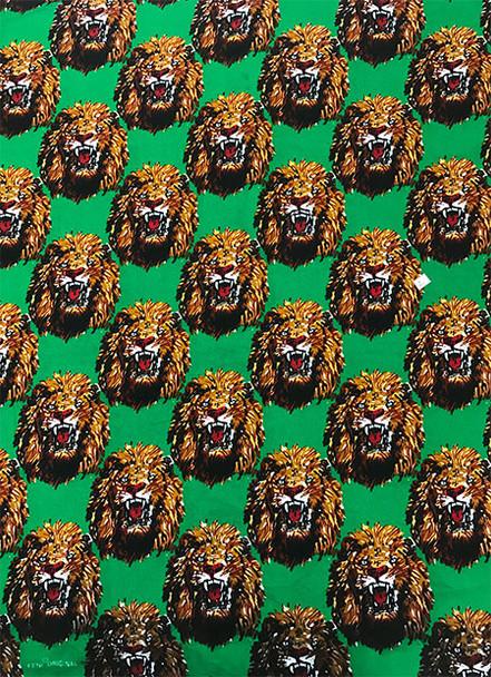 Feni Fabric # 6 Lion Head Green ($11 per yard)