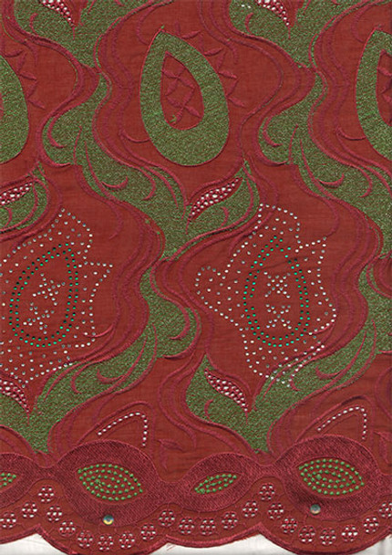 Voile Lace 195 (Burgundy/Olive)