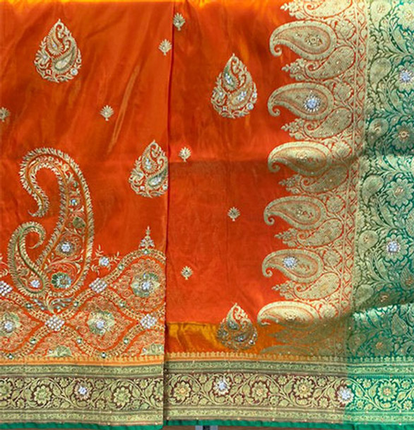 Saree George 121 (Orange/Green)