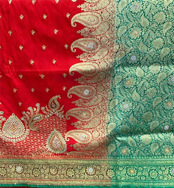 Saree George 126 (Red/Green)