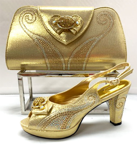Grand Diamond Shoes & Bag # 10 (Gold)