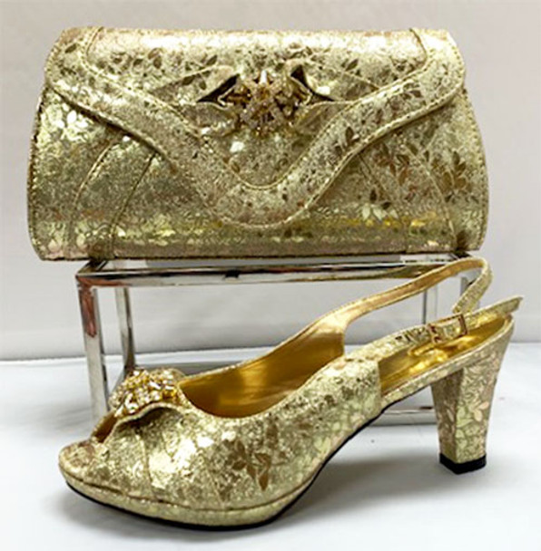 Grand Diamond Shoes & Bag # 13 (Gold)