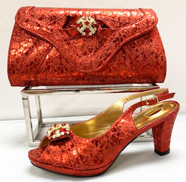 Grand Diamond Shoes & Bag # 14 (Red)