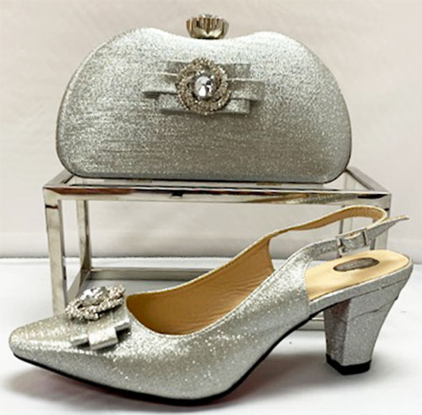 Grand Diamond Shoes & Bag # 19 (Silver)