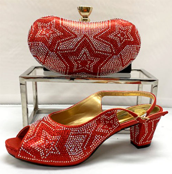 Grand Diamond Shoes & Bag # 23 (Red)