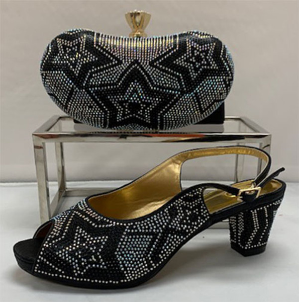 Grand Diamond Shoes & Bag # 24 (Black)