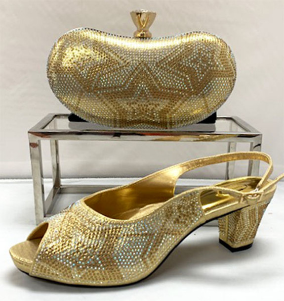 Grand Diamond Shoes & Bag # 26 (Gold)
