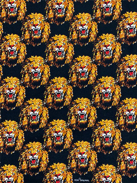 Feni Fabric # 2 Lion Head- Black ($11 per yard)