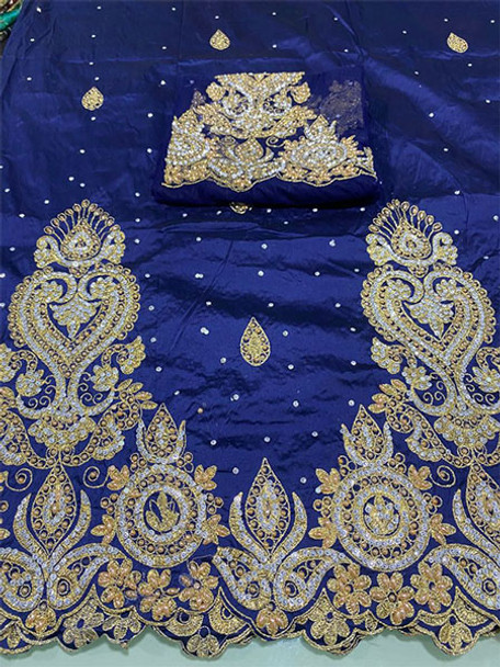 Wrapper with Blouse Piece 57 (Navy Blue)