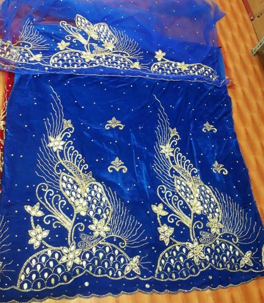 Velvet Wrapper with blouse piece# 207 (Royal Blue/Gold)