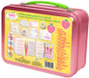 """Strawberry Shortcake First Aid Kit: First aid for everyday bumps and bruises Kids first aid kit includes 75 pieces Set includes anti-itch cream, pain relief spray, 6 gauze pads (2"""" x 2""""), 4 soft gel fever patches, 10 antiseptic wipes, 15 large bandages (2.82"""" x .75""""), 15 small bandages (2.20"""" x .75""""), 1 small rectangle bandage, 8 get well stickers, 10 cotton balls and an emergency contact card Kit includes a pink carrying case with the likeness of Strawberry Shortcake on the front"""