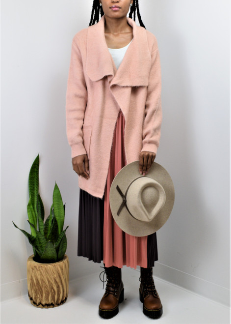 Draped Collar Cardigan