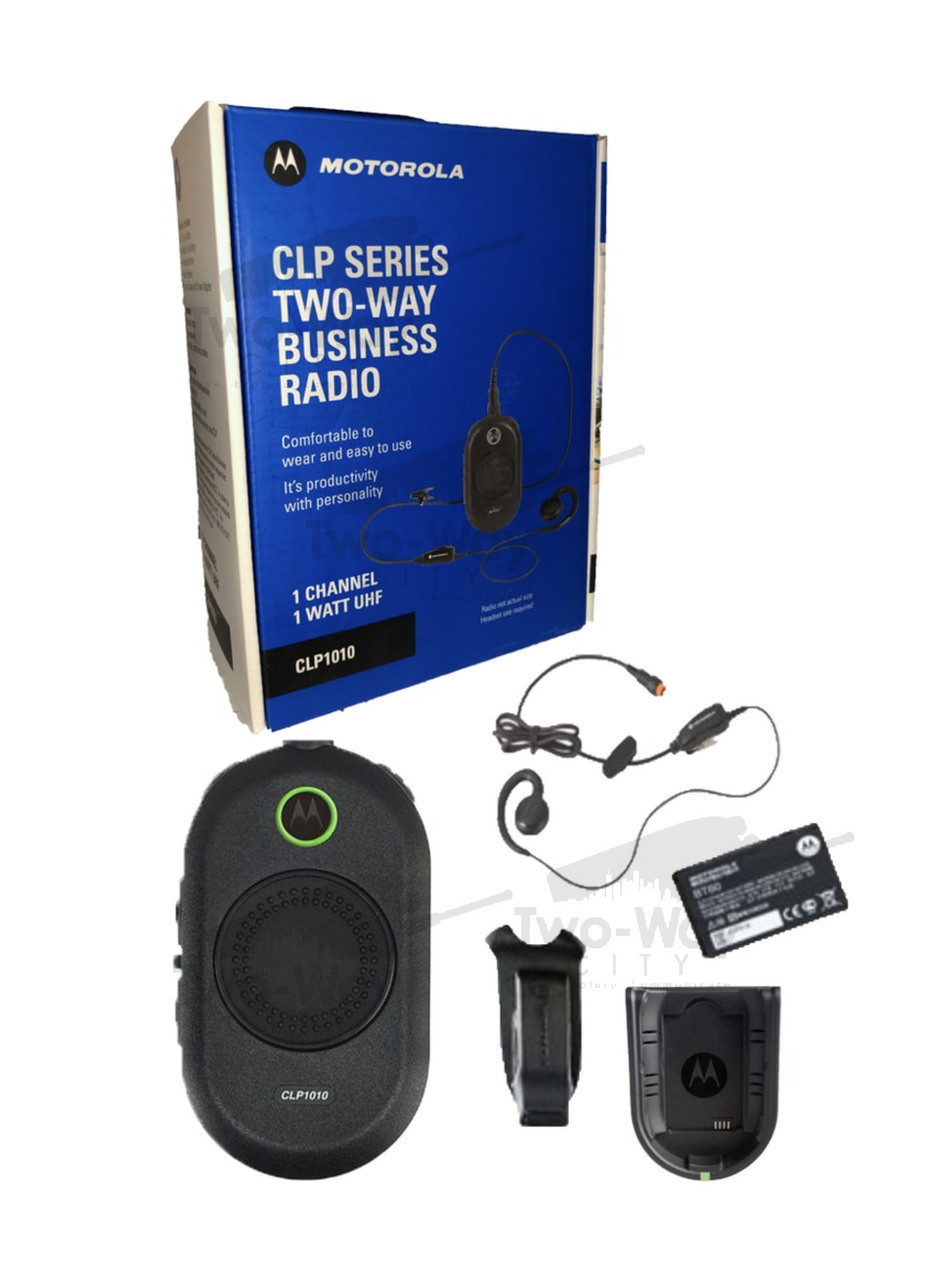 6 Pack of Motorola CLP1060 Radios with 6 Push to Talk PTT earpieces and a 6-Bank Radio Charger