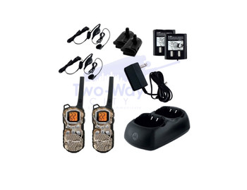 2 Pack Motorola Talkabout MS355R Two Way Radios with Dual Charger, Rechargeable Batteries and Headsets