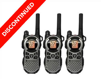 Discontinued 3 Pack Motorola MT352TPR Two Way Radios with Rechargeable Batteries, Headsets, and Charging Cable