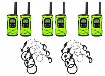 Motorola T600 Two-Way Radio 6-Pack with Earpieces