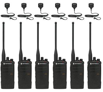 Motorola RDU4100 Business Two-Way Radios with HKLN4606 Speaker Mics 6-Pack Bundle